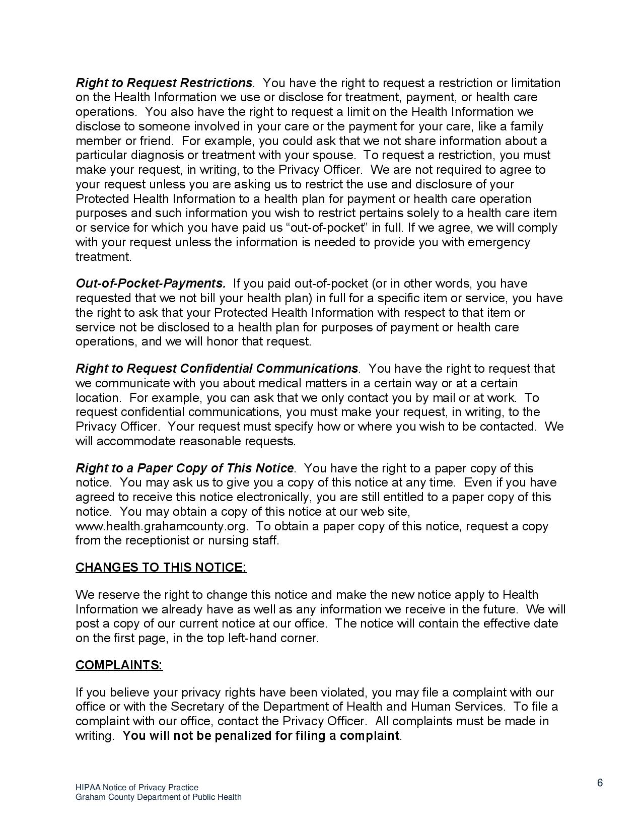 page 6 HIPAA Notice o f Privacy Practices