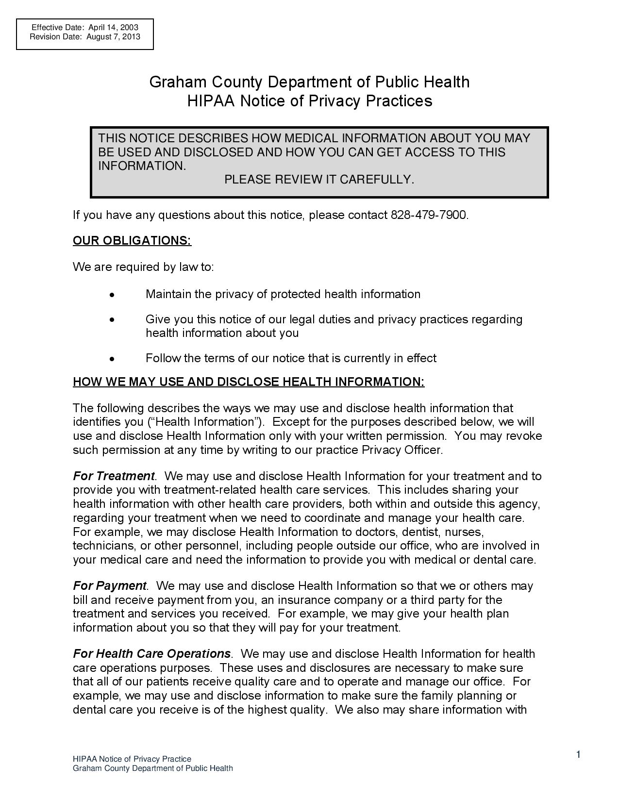 page 1 HIPAA Notice o f Privacy Practices