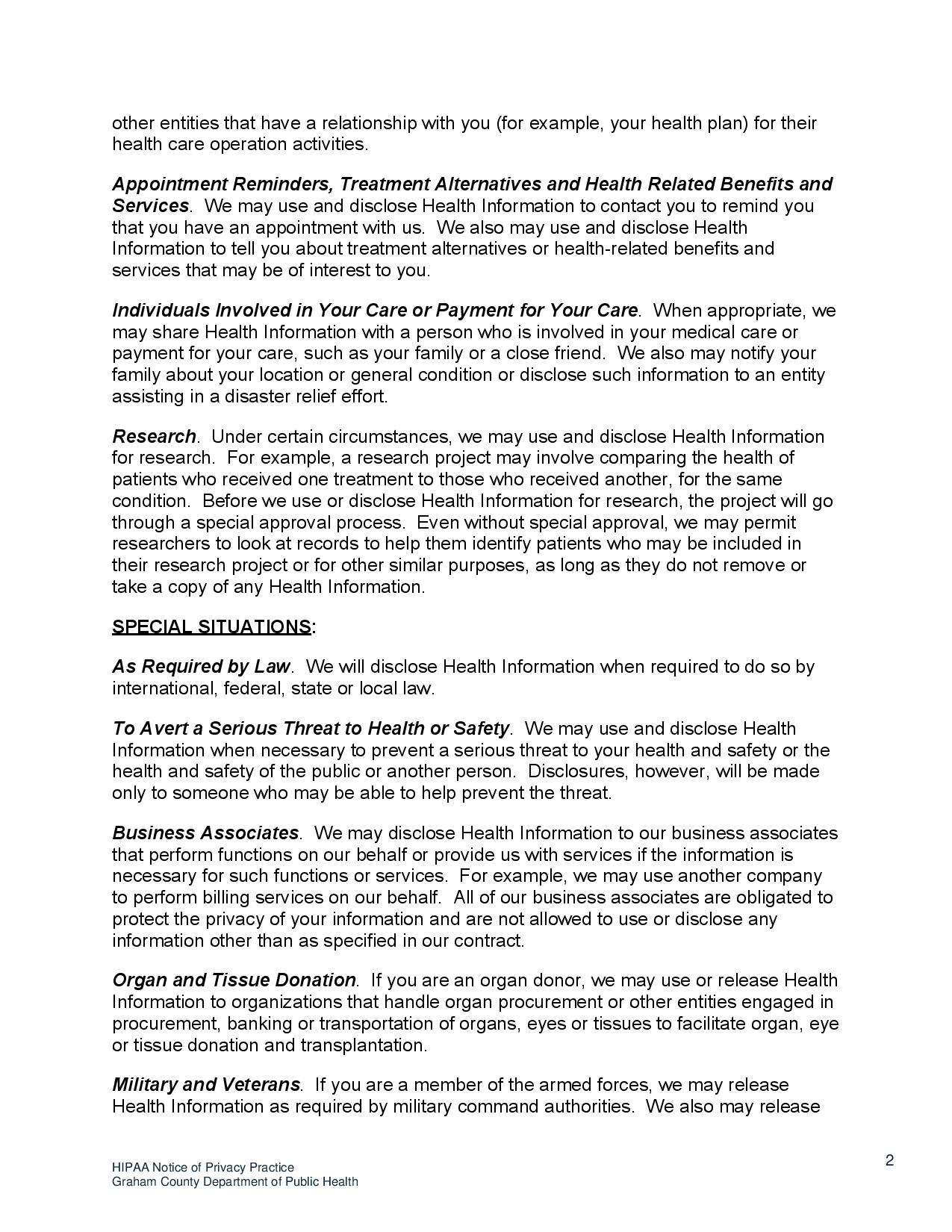 page 2 HIPAA Notice o f Privacy Practices