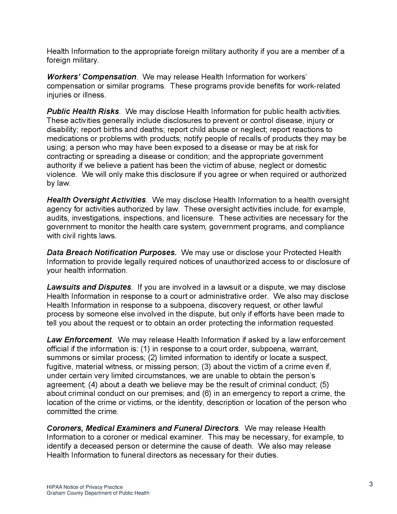 page 3 HIPAA Notice o f Privacy Practices